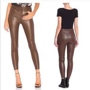 Free people brown vegan leather leggings